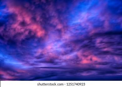 Multi colored December sunrise, Webster County, West Virginia, USA