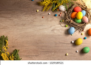 Multi colored Easter handmade decorations. Christianity traditional holiday