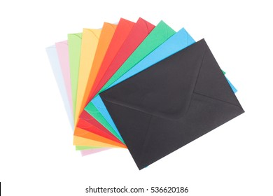 Multi colored envelopes, isolated on white