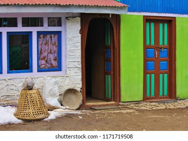Multi colored facade of a house in Kyanjing Gompa, Langtang National Park, Nepal.