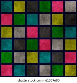 Multi colored grunge background with plaid pattern or stained-glass window
