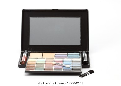 Multi colored make-up palette on white background