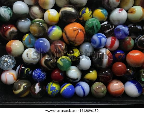Multi Colored Marble Balls Wallpaper Decorative Stock Photo Edit