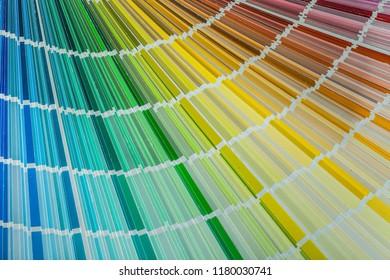 Multi colored pantone fan top view.