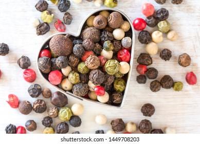 Multi Colored Peppercorns in a Heart Shape