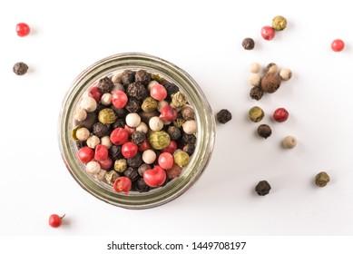 Multi Colored Peppercorns in a Spice Jar