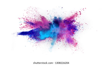 Multi colored powder explosion isolated on white background. Freeze motion of abstract dust texture.