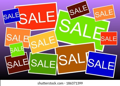 Multi colored Sale signs background
