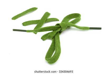 Multi Colored shoelaces on a white background