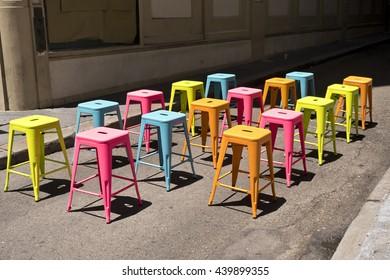 Multi Colored Stools, Red, Blue, Orange, Yellow