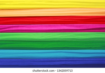 multi colored striped background, built by rolls of crepe paper