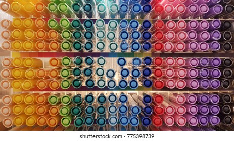 Multi colors highlighter pen line up in slots - Shutterstock ID 775398739