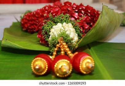 Multi colour flower garland used in Hindu weddings in India