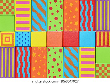 Multi colour texture, children's cubes, color background