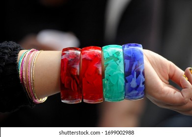 Multi colour verity of Hard end Bangle in hand New Delhi Indian .