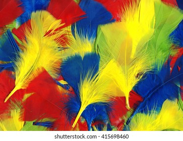 Multi coloured fluffy and soft bird feathers abstract background
