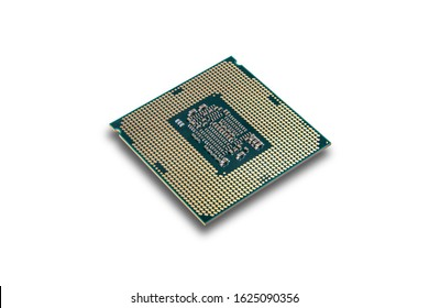 Multi core CPU isolated on white background. PC assembly or upgrade on modern chipset. Electronic concept with processor