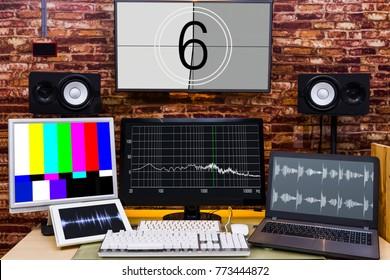multi display in digital visual & audio editing studio or broadcasting studio
