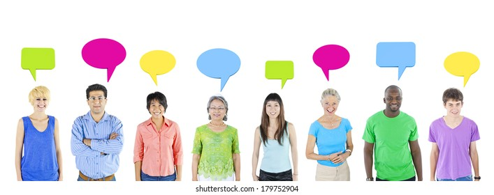 Multi Ethnic Diverse People with Colorful Speech Bubbles