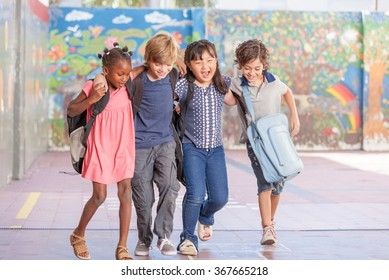 Multi ethnic group of children playing together. Success and integration concept.