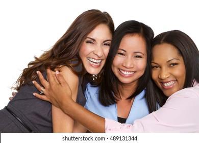 Multi ethnic group of happy women isolated on white.