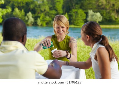 multi ethnic group having picnic outdoors and laughing