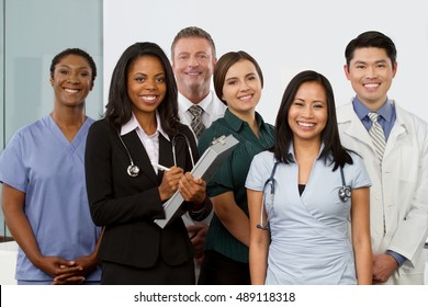 Multi ethnic group of healthcare professionals.