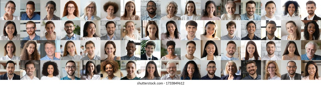 Multi ethnic people of different age looking at camera collage mosaic horizontal banner. Many lot of multiracial business people group smiling faces headshot portraits. Wide panoramic header design.