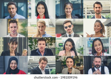 Multi ethnic people of different age looking at camera collage mosaic video conference, . Many lot of multiracial business people group smiling faces headshot portraits.