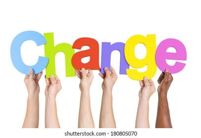 Multi Ethnic People Holding The Word Change