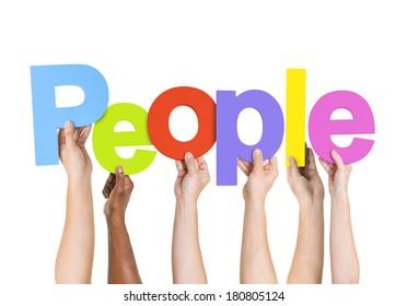 Multi Ethnic People Holding The Word People
