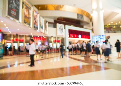 Multi Ethnicity and Age People Attendance, Male and Female, Wait to enter cinema or Movie Theater and Buy Ticket at Box Office at Theater Lobby Hall