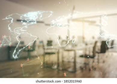 Multi exposure of abstract creative digital world map hologram on a modern furnished office background, tourism and traveling concept
