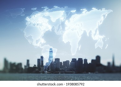 Multi exposure of abstract creative digital world map hologram on San Francisco skyscrapers background, research and analytics concept