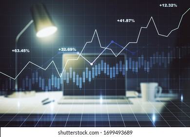 Multi exposure of abstract creative financial chart on computer background, research and analytics concept