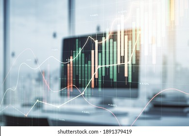 Multi exposure of abstract creative financial graph on modern computer background, forex and investment concept