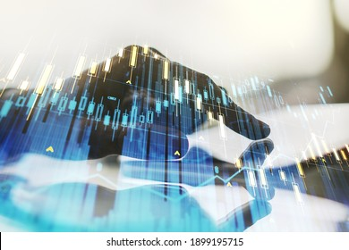 Multi exposure of abstract creative financial chart with finger presses on a digital tablet on background, research and analytics concept
