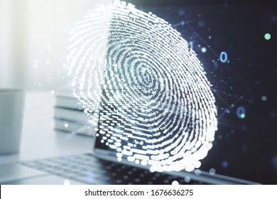 Multi exposure of abstract creative fingerprint illustration on modern laptop background, digital access concept