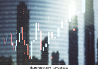 Multi exposure of abstract financial diagram on office buildings background, banking and accounting concept