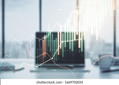 Multi exposure of abstract financial graph on laptop background, financial and trading concept