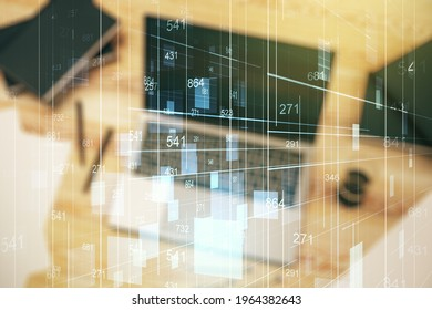 Multi exposure of abstract graphic data spreadsheet sketch on modern computer background, analytics and analysis concept