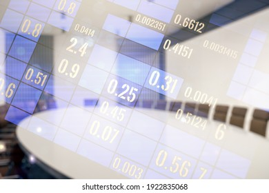 Multi exposure of abstract statistics data hologram interface on a modern furnished office interior background, computing and analytics concept