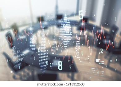 Multi exposure of abstract virtual financial graph hologram on a modern conference room background, forex and investment concept