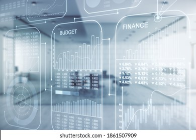 Multi exposure of abstract virtual graphic data spreadsheet sketch on a modern furnished classroom background, analytics and analysis concept