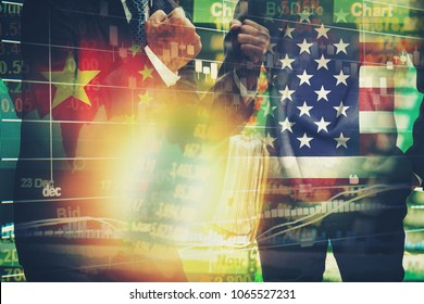 Multi exposure businessman on stock market chart,america vs china business war concept