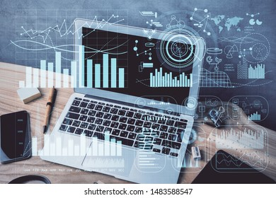 Multi exposure of chart and financial info and work space with computer background. Concept of international online trading. - Shutterstock ID 1483588547