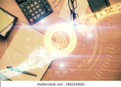 Multi exposure of crypto theme drawing and work table top veiw. Concept of blockchain technology in business.
