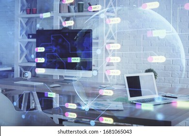 Multi exposure of data theme drawing and office interior background. Concept of technology.