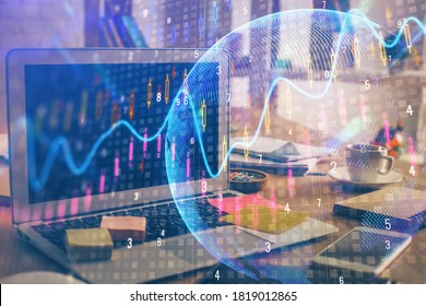Multi exposure of graph and financial info and work space with computer background. Concept of international online trading.