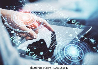 Multi exposure of man's hand holding and using a digital device and data theme drawing. Innovation concept.